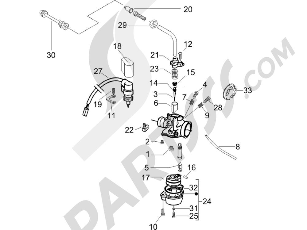 Componentes de carburador Piaggio Typhoon 50 2007-2008