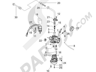 Piaggio Typhoon 50 2007-2008 Componentes de carburador