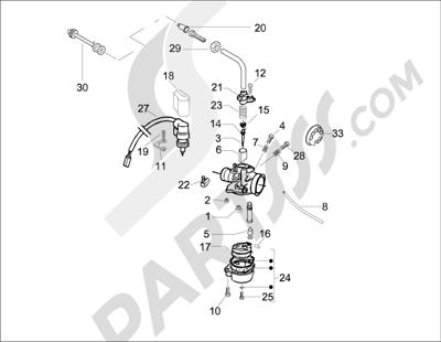 Piaggio Typhoon 50 2T E2 2009-2010 Componentes de carburador