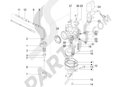 Piaggio Typhoon 50 2T E2 2010-2012 Componentes de carburador