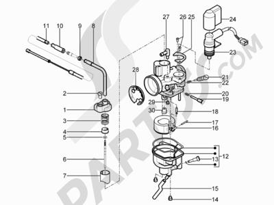 Piaggio Typhoon 50 2T E3 (CH) 2011 Componentes de carburador