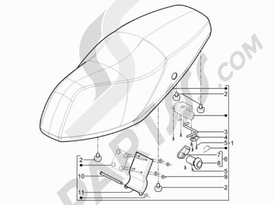 Piaggio Typhoon 50 2T E3 (CH) 2011 Sillín asientos - Bolsa herramienta