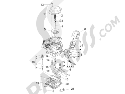 Piaggio Typhoon 50 4T 4V E2 (USA) 2012-2015 Componentes de carburador