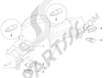 Piaggio Typhoon 50 4T 4V E2 (USA) 2012-2015 Conmutadores - Conmutadores - Pulsadores - Interruptores