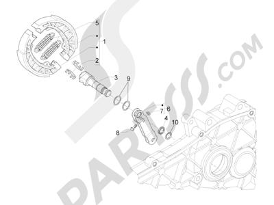 Piaggio Typhoon 50 4T 4V E2 (USA) 2012-2015 Freno trasero - Zapatas