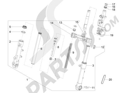 Piaggio Typhoon 50 4T 4V E2 (USA) 2012-2015 Horquilla Tubo direccion - Conjunto tejuelos