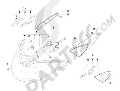 Piaggio X Evo 125 Euro 3 2007-2016 Faros delanteros - Indicadores de dirección