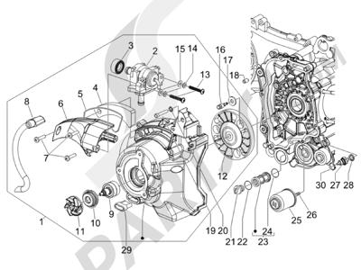 Piaggio X Evo 125 Euro 3 2007-2016 Tapa volante magnetico - Filtro de aceite