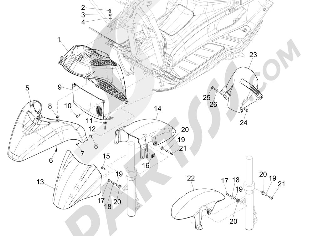 Alojamiento rueda - Guardabarros Piaggio X Evo 125 Euro 3 (UK) 2007-2016