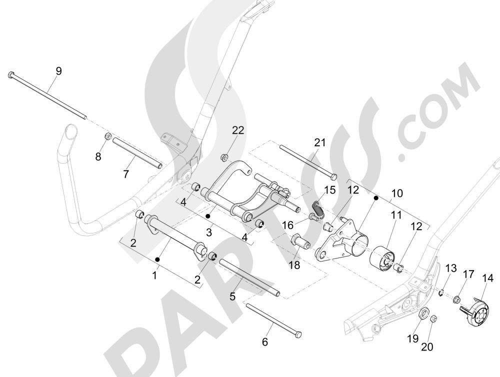 Brazo oscilante Piaggio X Evo 125 Euro 3 (UK) 2007-2016