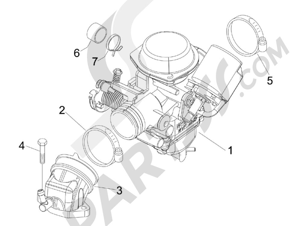 Carburador completo - Racord admisión Piaggio X Evo 125 Euro 3 (UK) 2007-2016