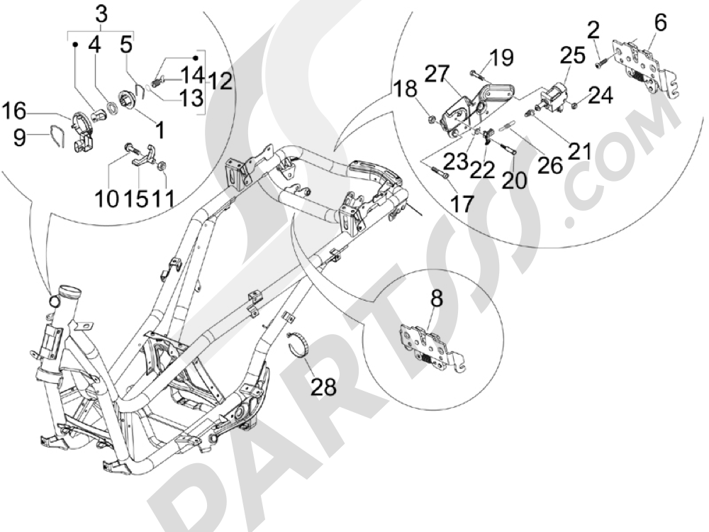 Cerraduras Piaggio X Evo 125 Euro 3 (UK) 2007-2016