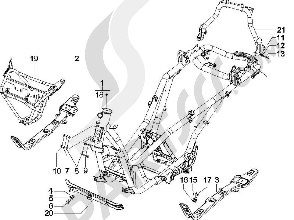 Chasis carrocería Piaggio X Evo 125 Euro 3 (UK) 2007-2016