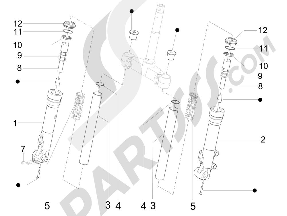 Componentes de la horquilla (Escorts) Piaggio X Evo 125 Euro 3 (UK) 2007-2016