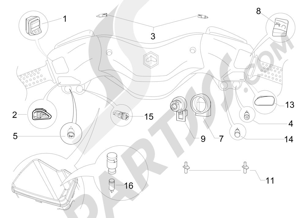 Conmutadores - Conmutadores - Pulsadores - Interruptores Piaggio X Evo 125 Euro 3 (UK) 2007-2016