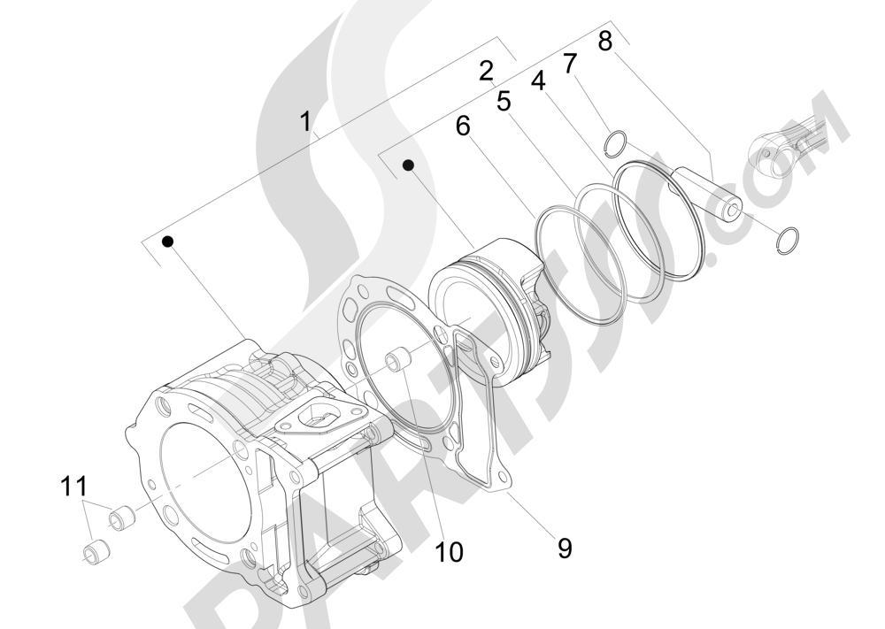 Grupo cilindro-pistón-eje Piaggio X Evo 125 Euro 3 (UK) 2007-2016
