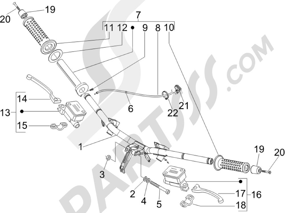 Manillar - Bomba freno Piaggio X Evo 125 Euro 3 (UK) 2007-2016