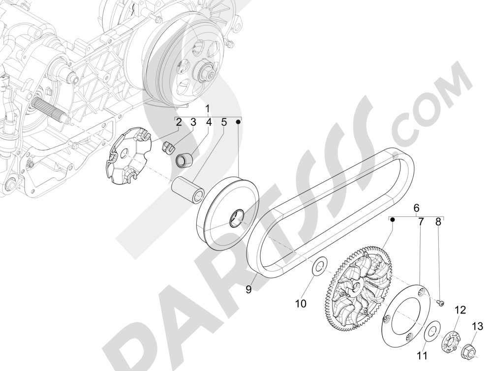 Polea conductora Piaggio X Evo 125 Euro 3 (UK) 2007-2016