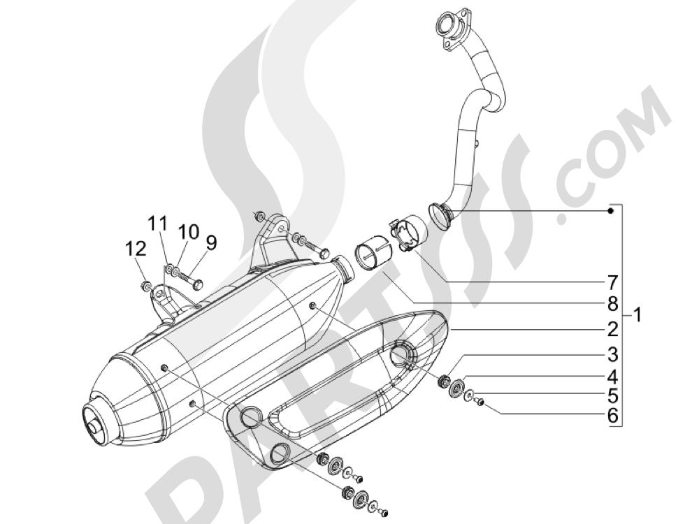 Silenciador Piaggio X Evo 125 Euro 3 (UK) 2007-2016
