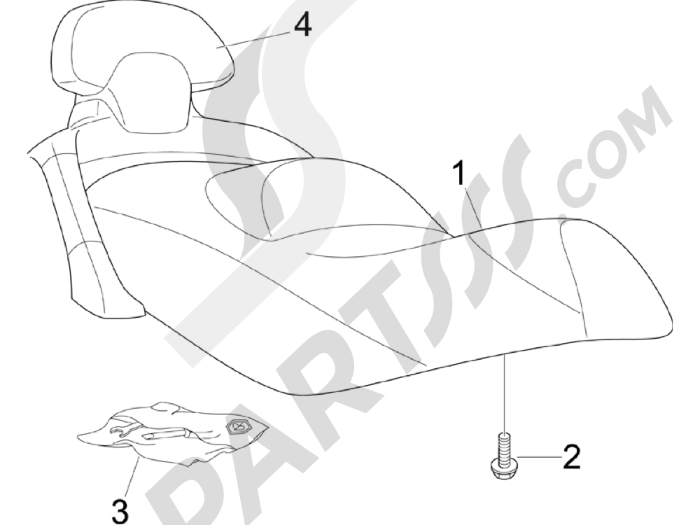 Sillín asientos Piaggio X Evo 125 Euro 3 (UK) 2007-2016