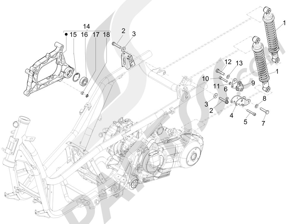 Suspensión trasera - Amortiguador es Piaggio X Evo 125 Euro 3 (UK) 2007-2016