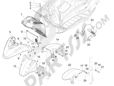 Piaggio X Evo 125 Euro 3 (UK) 2007-2016 Alojamiento rueda - Guardabarros
