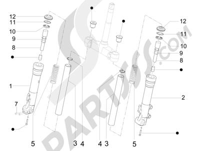 Piaggio X Evo 125 Euro 3 (UK) 2007-2016 Componentes de la horquilla (Escorts)