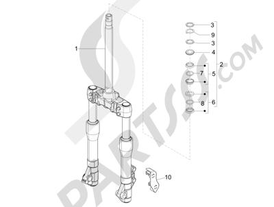 Piaggio X Evo 125 Euro 3 (UK) 2007-2016 Horquilla Tubo direccion - Conjunto tejuelos