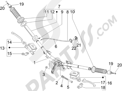 Piaggio X Evo 125 Euro 3 (UK) 2007-2016 Manillar - Bomba freno