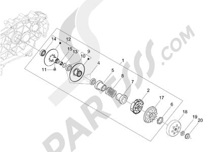 Piaggio X Evo 125 Euro 3 (UK) 2007-2016 Polea conducida