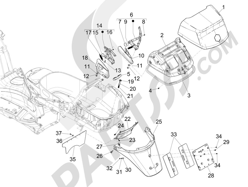 Cubierta trasera - Salpicador Piaggio X Evo 250 Euro 3 2007-2016