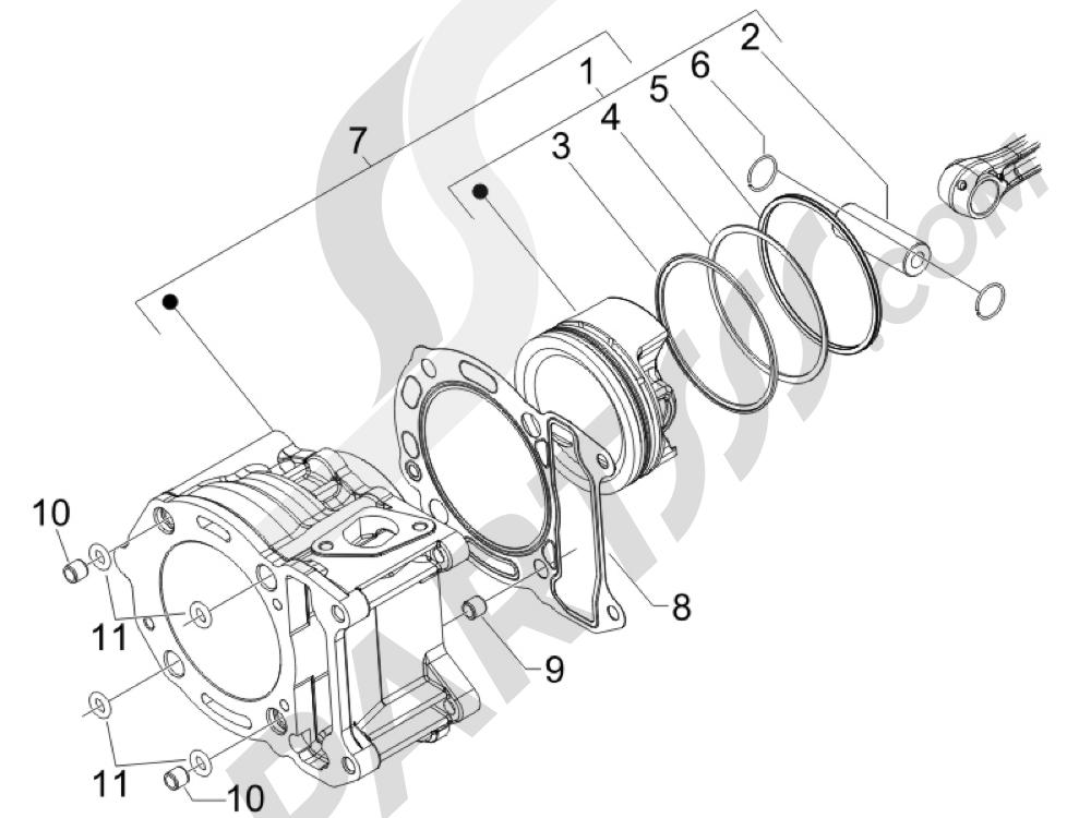 Grupo cilindro-pistón-eje Piaggio X Evo 250 Euro 3 2007-2016