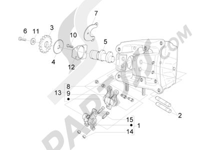 Piaggio X8 400 ie Euro 3 2007-2011 Grupo soporte balancines