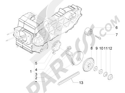 Piaggio X8 400 ie Euro 3 2007-2011 Polea conductora