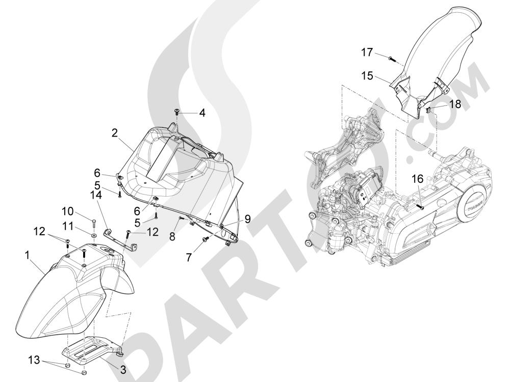 Piaggio X10 125 4T 4V I.E. E3 2012-2013 Alojamiento casco - Parte debajo sillín