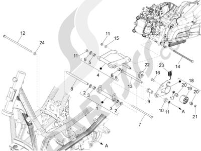 Piaggio X10 125 4T 4V I.E. E3 2012-2013 Brazo oscilante