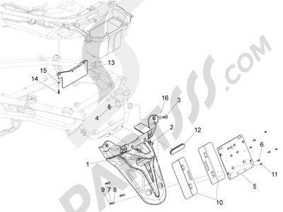 Piaggio X10 125 4T 4V I.E. E3 2012-2013 Cubierta trasera - Salpicador
