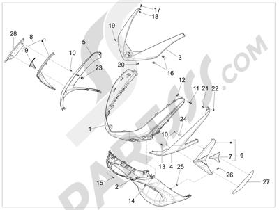 Piaggio X10 125 4T 4V I.E. E3 2012-2013 Escudo delantero