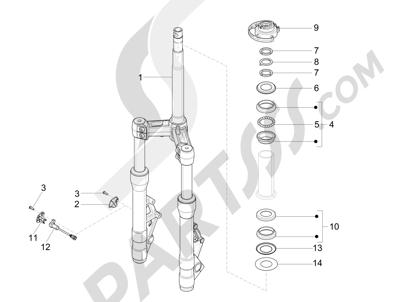 Piaggio X10 125 4T 4V I.E. E3 2012-2013 Horquilla Tubo direccion - Conjunto tejuelos