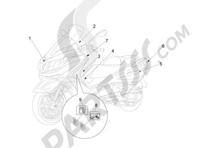 Piaggio X10 125 4T 4V I.E. E3 2012-2013 Letreros - Escudos