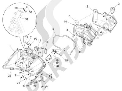 Piaggio X10 125 4T 4V I.E. E3 2012-2013 Maletero delantero - Contraescudo