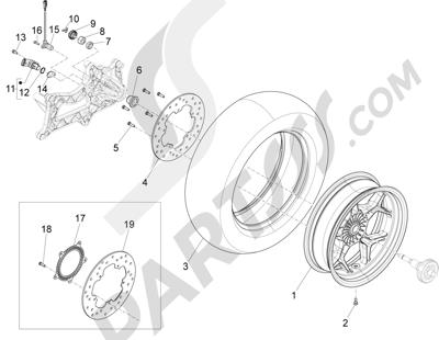 Piaggio X10 125 4T 4V I.E. E3 2012-2013 Rueda trasera