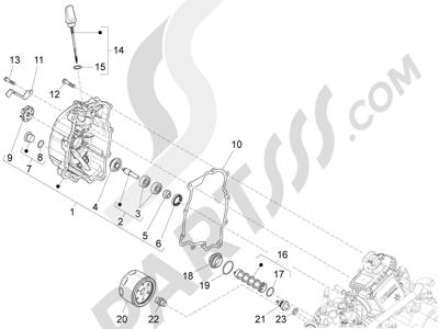 Piaggio X10 125 4T 4V I.E. E3 2012-2013 Tapa volante magnetico - Filtro de aceite