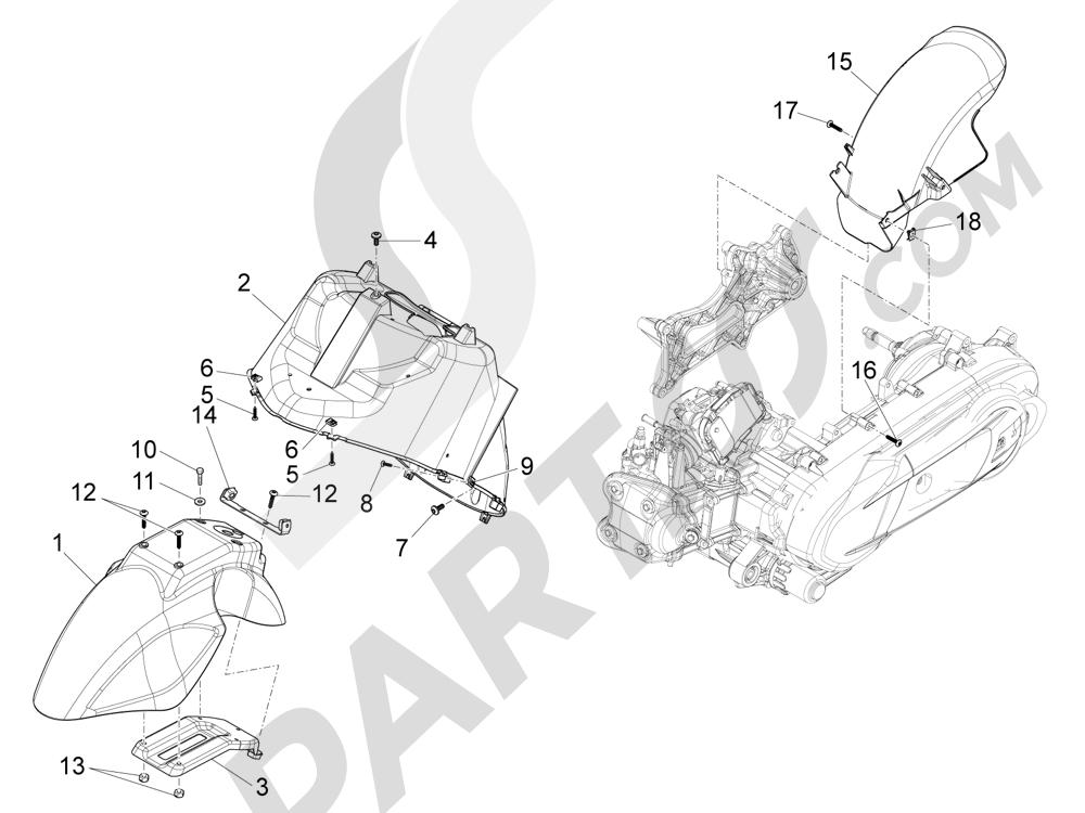 Piaggio X10 350 4T 4V I.E. E3 2012-2015 Alojamiento casco - Parte debajo sillín