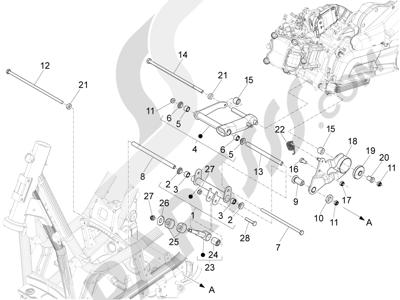 Piaggio X10 350 4T 4V I.E. E3 2012-2015 Brazo oscilante