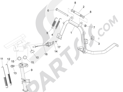 Piaggio X10 350 4T 4V I.E. E3 2012-2015 Caballete s
