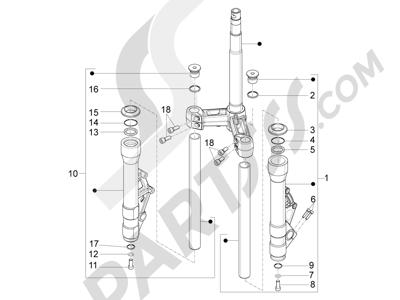 Piaggio X10 350 4T 4V I.E. E3 2012-2015 Componentes de la horquilla (Kayaba)