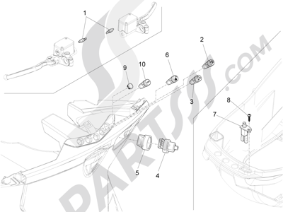 Piaggio X10 350 4T 4V I.E. E3 2012-2015 Conmutadores - Conmutadores - Pulsadores - Interruptores