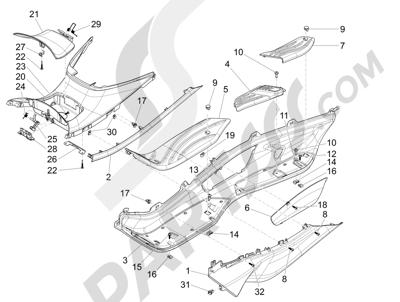 Piaggio X10 350 4T 4V I.E. E3 2012-2015 Cubierta central - Estribos