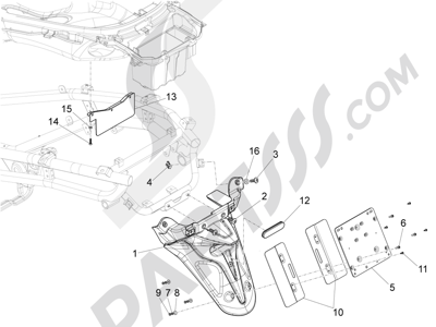 Piaggio X10 350 4T 4V I.E. E3 2012-2015 Cubierta trasera - Salpicador